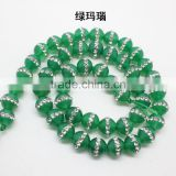 High grade natural green agate stone strand with crystal rhinestone paving crystal natural stone beads for diy jewelry