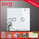 EU Standard 2Way Electrical Touch Switch AC110-240V Overload Protect Crystal Tempered Glass Panel blue LED indicator