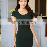 Elegant O-Neck 2 Piece Lady Business Suit Occasion Pullover Workwear Skirt Suit with Hem