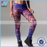 Yihao OEM service Polyester/Elastane fabric women tights gym wear leggings custom full sublimation printing sports leggings