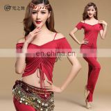 T-5124 2016 Newest style wholesale sexy short sleeve modal bellydance costumes