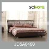 fancy genuine brown leather bed in solid wood frame as bedding set