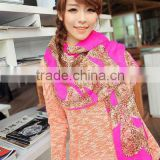 2013 new style custom colorful fashion shawl butterfly printed scarf with leopard logo