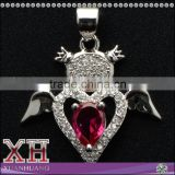 Beautiful Design Sterling Silver Ruby Stone Heart Wing Angle Pendant