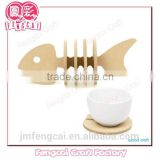 Set of Fish Wooden cute coaster (Wooden craft in laser-cutting & engraving)
