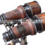 Nautical Marine Antique Solid Brass Leather Mount Stand Binocular 12215