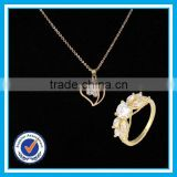 Real zircon wedding gold ring necklace set fashion 24k gold jewelry set