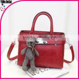 2016 PU crossbody bags for women leather handbags women plaid bear pendant women tote bag valise