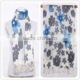 Stock Blue Flower Symmetry Scarf Trendy Women Scarf for 2015 Spring ,Fashion Simple Tassel Lady Scarf