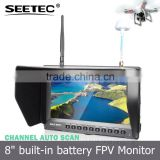 Rc quadcopter photography 8 inch lcd monitor built-in integrated lipo battery wireless 5.8g gps drone