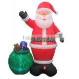 2016 Christmas Inflatable Santa Claus 100% Polyester Imported with Big Gift Bag Yard Outdoor Decoration