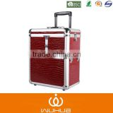 high quality large trolley case with trays/Extendable Vanity Aluminum Rolling Cosmetic case/Mobile Professional make up box