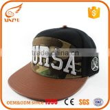 Custom 3D embroidered leather flat brim caps cheap snapback hats wholesale