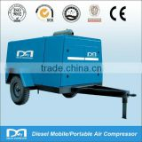 Electric/diesel mobile portable oil injected rotary screw type air compressor for jack hammer