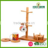 Wooden/ Bamboo Mug Tree Holder With Coasters /bamboo Cup Holder