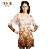 Ladies Cashmere Long Sleeve Print Design Women Dress, High Quality Print Round Neck Stylish Dress