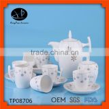 turkish coffee cup coffee set tea pot,Unique white chinese porcelain tea set,restaurant tea pots