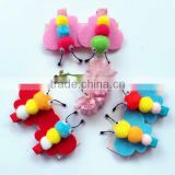 New premium colorful polyester barrette felt hair clip in three pompon bees pattern for newborn toddler hair accessories set