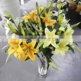 2015 hot sell artificial lily flower factory price three heads beautiful