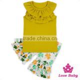 66TQZ478 Lovebaby Neck Ruffle Vest With Floral Shorts Clothes Set Hot Summer Fashion Outfit Newborn Baby Girls Clothes