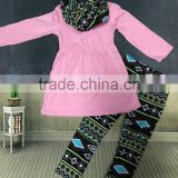 2016 new 3 pieces design baby girls pink top scarf Aztec pant sets girls fashion cute boutique set