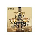 Matte Black Vintage Amber Drawbench Antique Chandelier Pendant Lighting , E27 Light Base