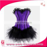 Sexy Burlesque purple Corset skirt Fancy dress Hen costume women sexy corset dress