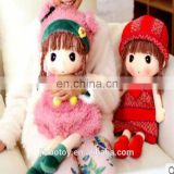 custom stuffed soft plush doll oven dolls with crochet knit or regular knit accessories for girls wedding plush toy