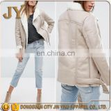 2017 OEM Service Faux-suede Winter Women Shearling Lined Grey Biker Jacket with Asymmetric Zip Fastening JYABF001