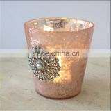 Fuchsia Pink Mercury Glass Votive Candle Holder With Diamante & Rhinestones For Wedding Tableware