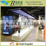 Pure white MDF shop and showroom furniture garment display, furniture for clothing store
