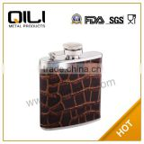 3oz promotional wholesale lether business special hip flask
