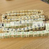 OB007 12mm English Letters Alphabet Dice Pattern White Cube Natural bone Beads