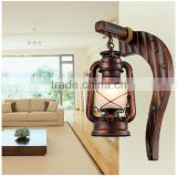 Decorated led vintage wooden wall light