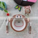 custom Lovely monkey children bowl,New ECO bamboo fiber animal model kids dinnerware set