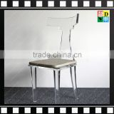 Hot sale popular Acrylic dining chair, clear acrylic ghost dining chair,modern clear acrlic ghost chair with cushion
