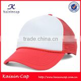 wholesale red foam front mesh fabric 5 panel eco friendly trucker cap without logo
