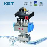 Pneumatic Actuator 3PC Thread Ball Valve With Limit Switch Box