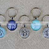 Monogram Key Chain Charm - Glitter Gradient Silver Initial Pendant - Personalized Monogram Jewelry