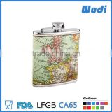 sus304 stainless steel hip flask with pu leather world map on flask HF314                                                                         Quality Choice