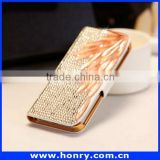High quality diamond bling wallet leather case For apple iphone 4