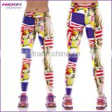 Printed American Flag Unique Bright Color Womens Gym Leggings