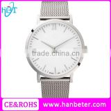 Silver case silver mesh strap cheap mens watch with japan miyota movement