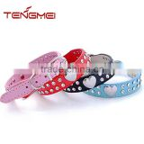 Pet collar with 2 rows rhinestone bling heart studded leather dog pet collar for small dog