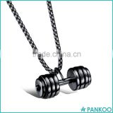 Yiwu Factory Wholesale Fashion Stainless Steel Dumbbell Pendant Necklace Barbell Necklace Fitness Jewelry