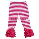 Fashionable pants for girl sew sassy icing legging stripe ruffle leggings pants wholesale