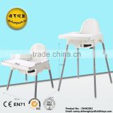New design white High chair Baby Dinner chair children dining table feeding chair for baby