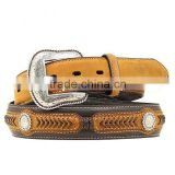 Western cowboy's Black & brown belt with scalloped leather Laced Concho Belt