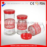 stainless steel covered glass tea coffee sugar canisters