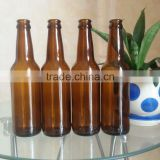 12oz empty amber beer glass bottle with crown cap, 330ml glass beer bottle